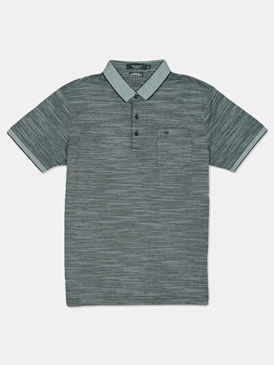 Psoulz solid green cotton slim fit polo t-shirt