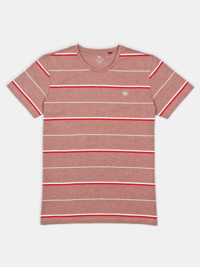 Psoulz stripe brown casual t-shirt