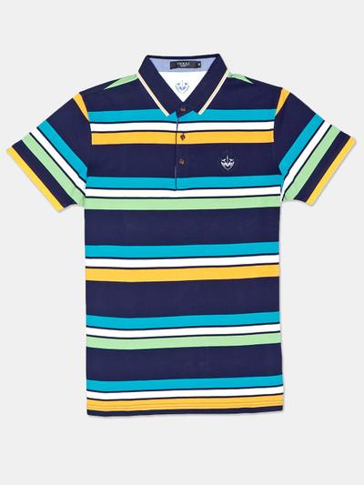 Psoulz stripe navy mens printed polo t-shirt