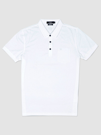 Psoulz white solid casual polo t-shirt