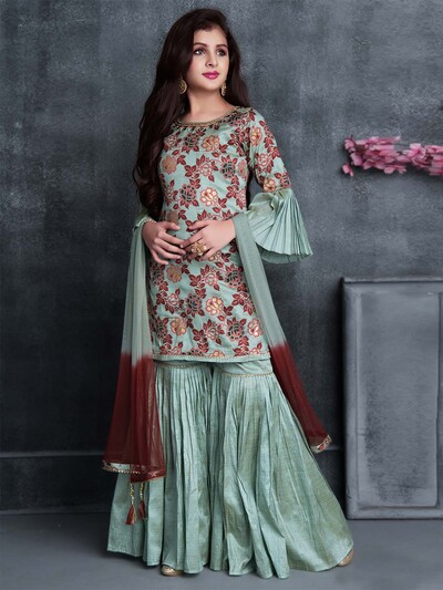 Punjabi teal green wedding wear cotton silk sharara suit