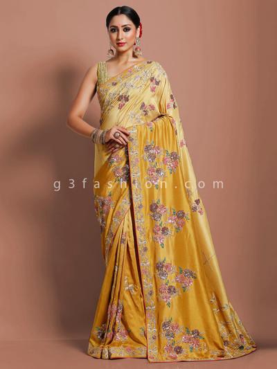 Pure muga silk yellow designer wedding saree