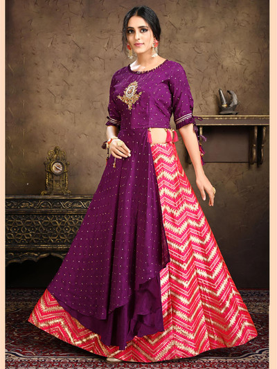 Purple and magenta lehenga style suit with embroidered details