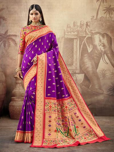 Purple banarasi paithani silk saree for wedding