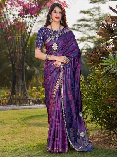 Purple banarasi silk festive wear saree for women