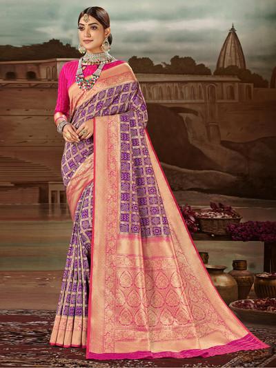 Purple banarasi silk wedding zari weaved saree