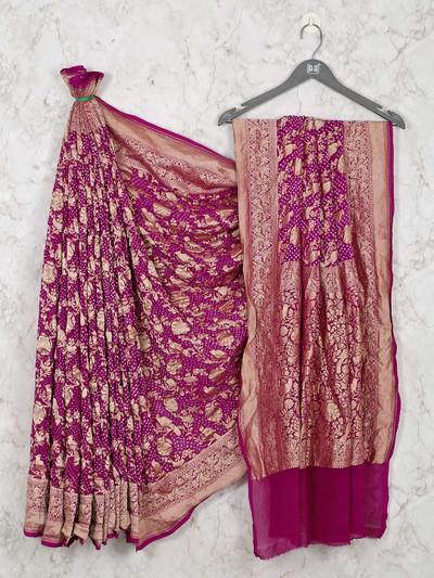 Purple bandhej saree design for wedding