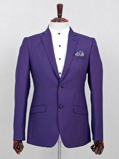 Purple checks pattern terry rayon blazer