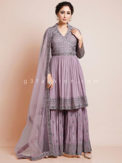 Purple colour silk festive wear suit