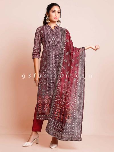 Purple cotton pant style salwar kameez for festive