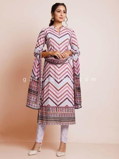 Purple cotton pant style salwar suit