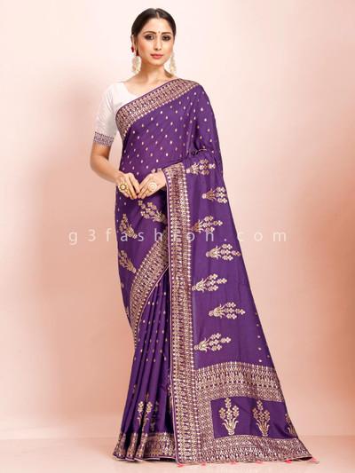 Purple dola silk festive wear exclusive saree