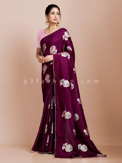Purple dola silk saree for party