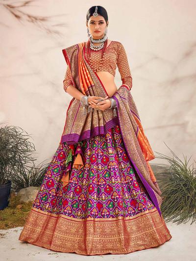Purple patola silk printed unstitched lehenga for wedding