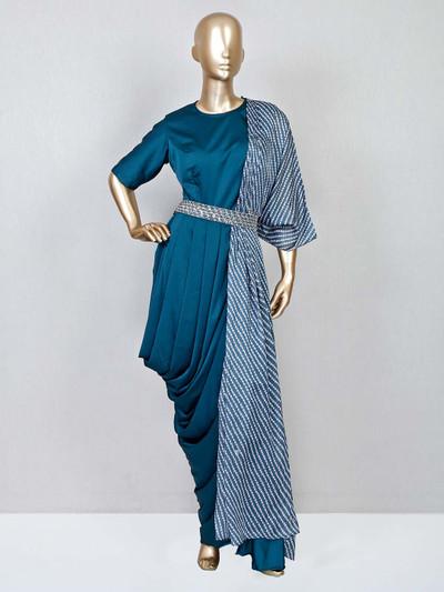 Rama blue wedding wear indowestern suit