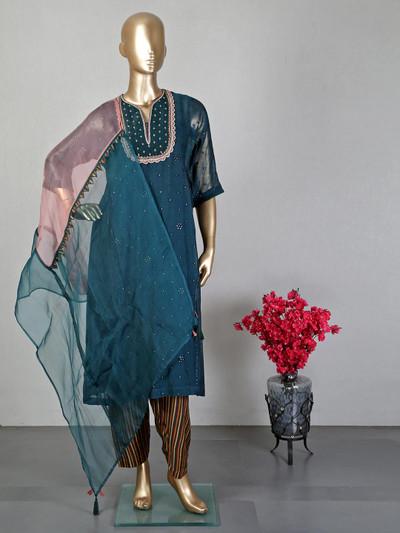 Rama green cotton salwar suit for festive