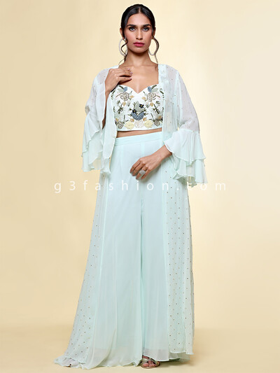 Rama green georgette wedding occasions palazzo suit