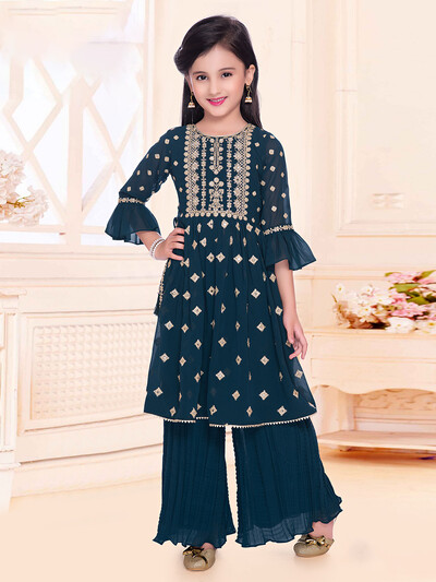 Rama green palazzo suit for girls