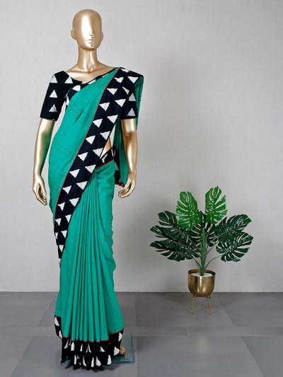 Rama green thread weaving sari in cotton