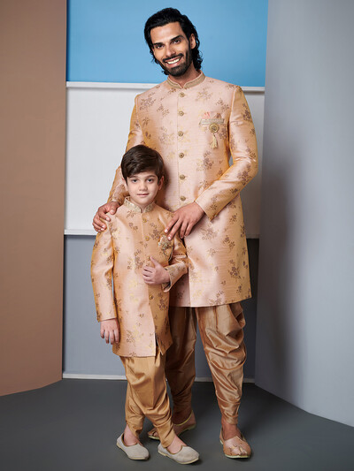 Raw silk beige indo western wedding wear for father and son