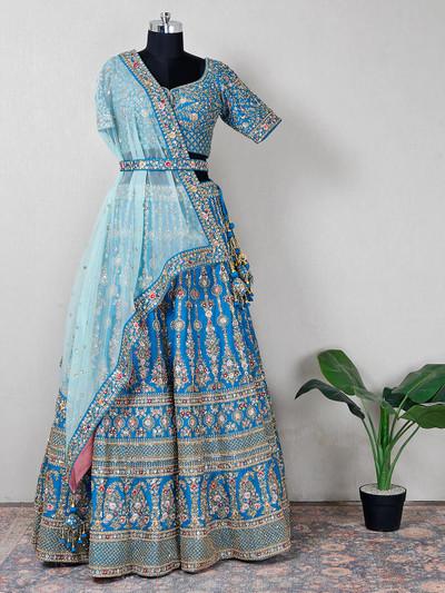 Raw silk blue bridal wear lehenga choli
