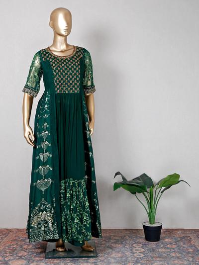 Raw silk dark green wedding palazzo suit