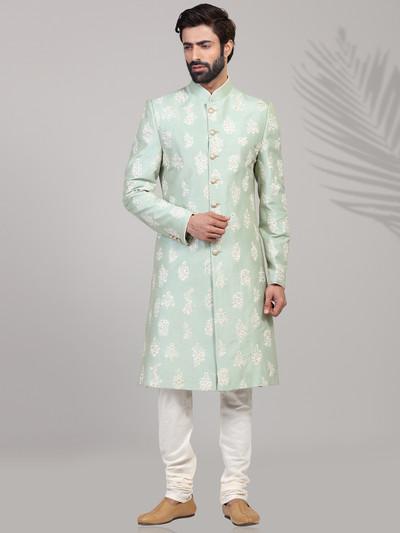 Raw silk green designer wear sherwani