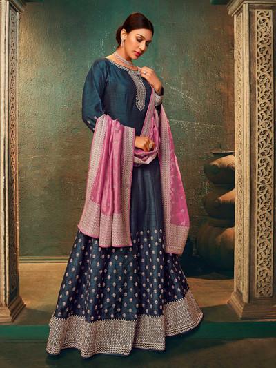 Raw silk navy blue color anarkali salwar suit for wedding