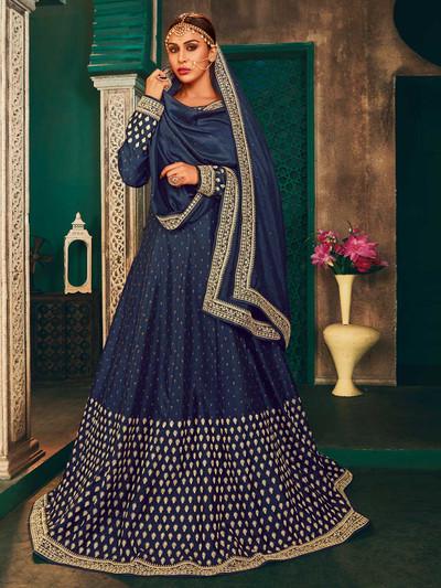 Raw silk navy blue wedding wear anarkali salwar suit