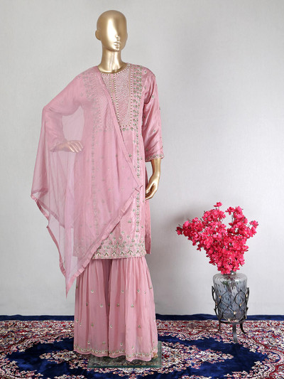 Raw silk Onion pink festive wear sharara suit