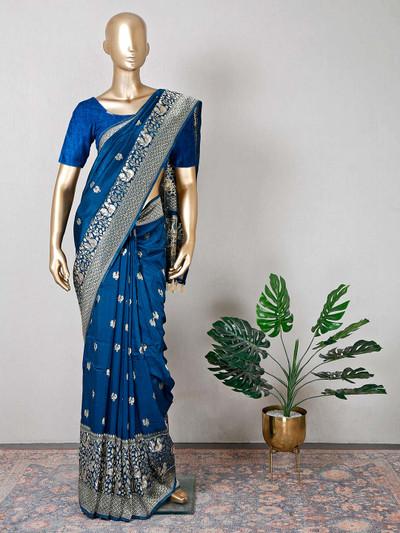 Raw silk peacock blue wedding wear saree