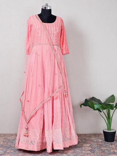 Raw silk pink beautiful wedding anarkali suit