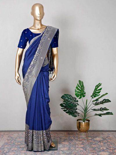 Raw silk wedding wear navy saree