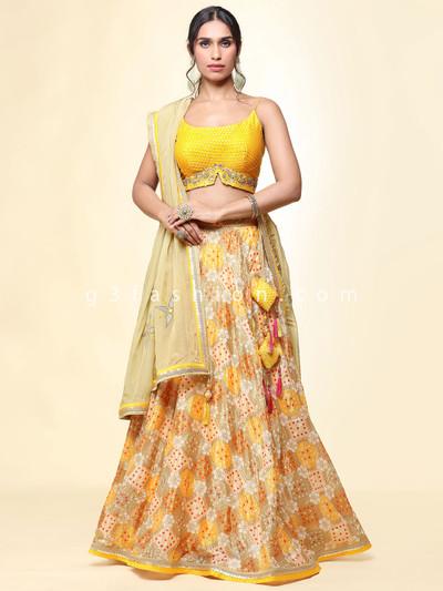 Rawsilk yellow lehenga choli for wedding