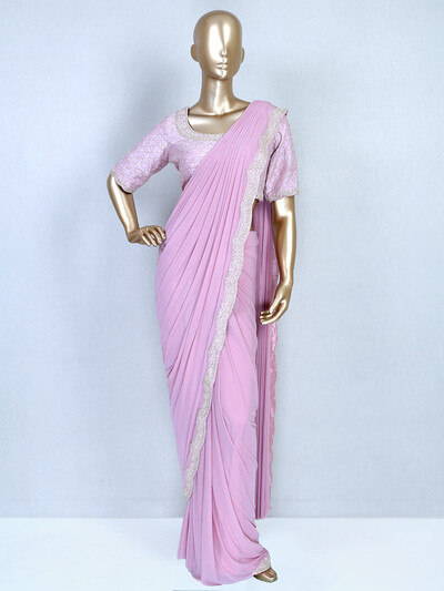 Ready to wear party wear pink saree