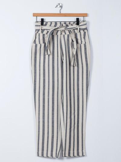 Recap grey linen palazzo pant with stripe