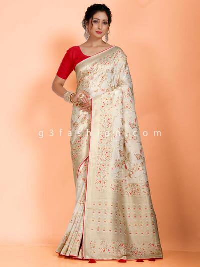 Reception wear cream dola silk saree