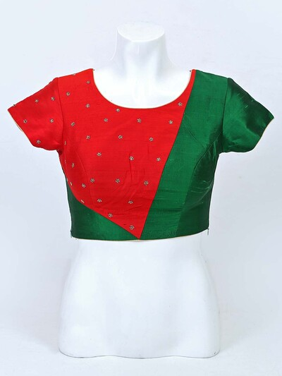 Red and green raw silk round neck blouse