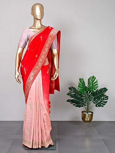 Red and pink festive wear saree