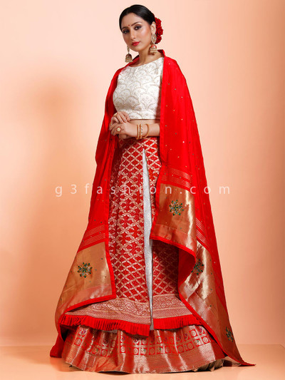 Red and white bandhej half n half lehenga choli in wedding