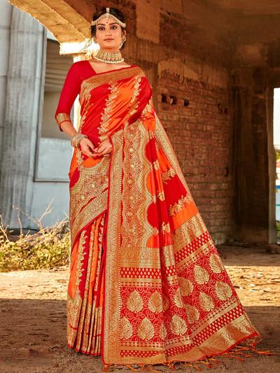 Red banarasi silk saree for festive function