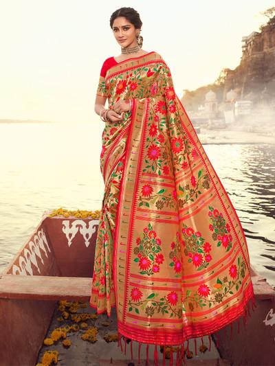 Red banarasi silk wedding sessions saree
