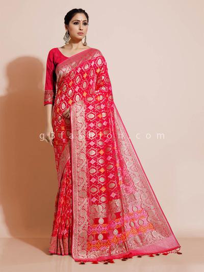 Red bandhej georgette wedding wear saree