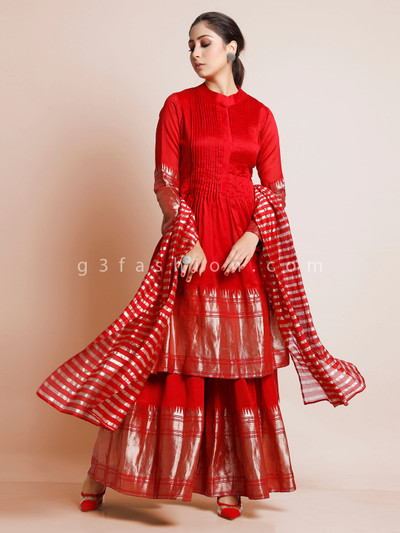 Red colored palazzo suit in cotton silk