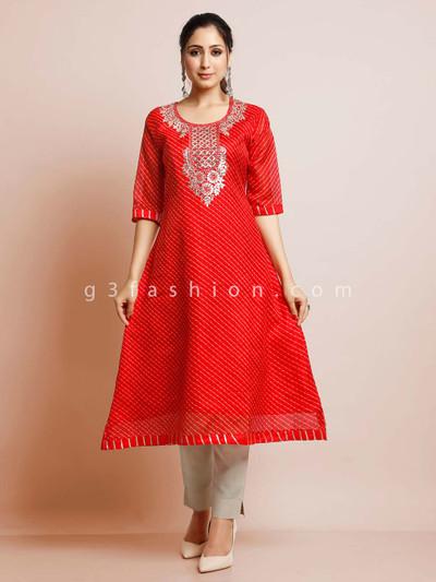 Red cotton festive wear exclusive kurti