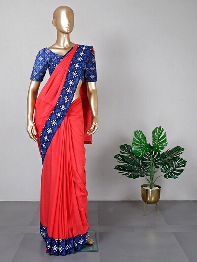 Red cotton saree for festive fuctions
