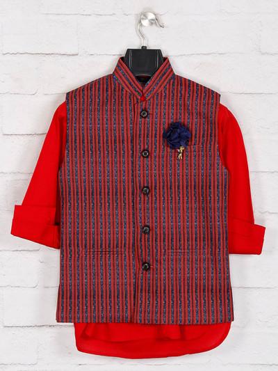 Red cotton stripe waistcoat set