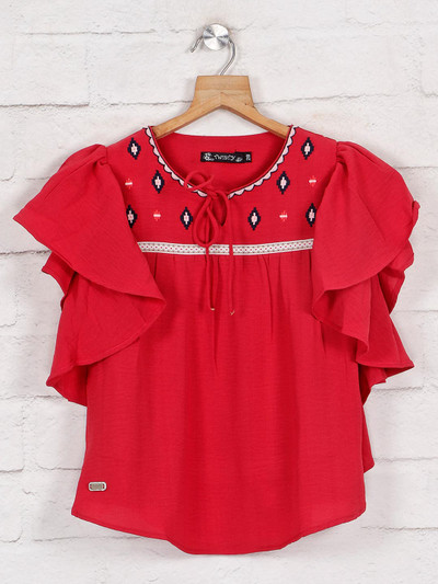 Red cotton top for girls in cotton