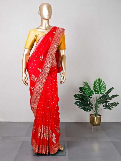 Red designer cotton silk wedding wear saree