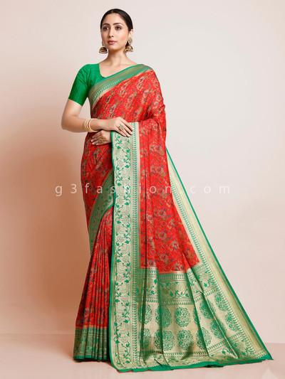 Red designer pashmina banarasi silk saree